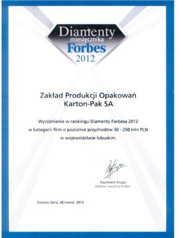 DIAMENTY FORBES'A 2012